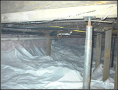 Rim joist and rafters with rot damage before foaming
