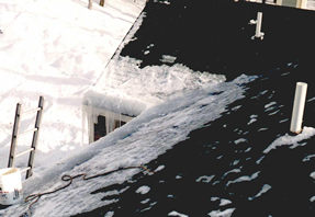 Ice dam on the edge of a roof